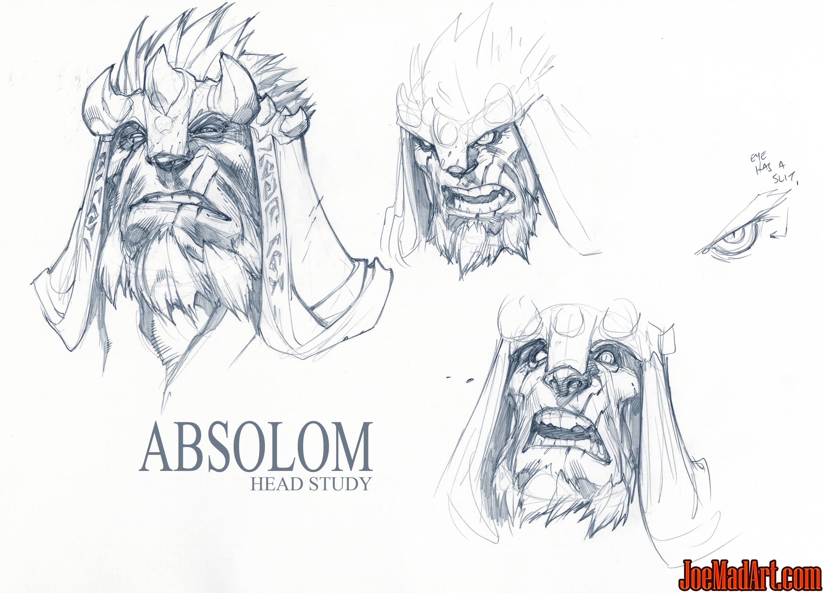 joemadart com  darksiders 2  absalom head concept art sketches