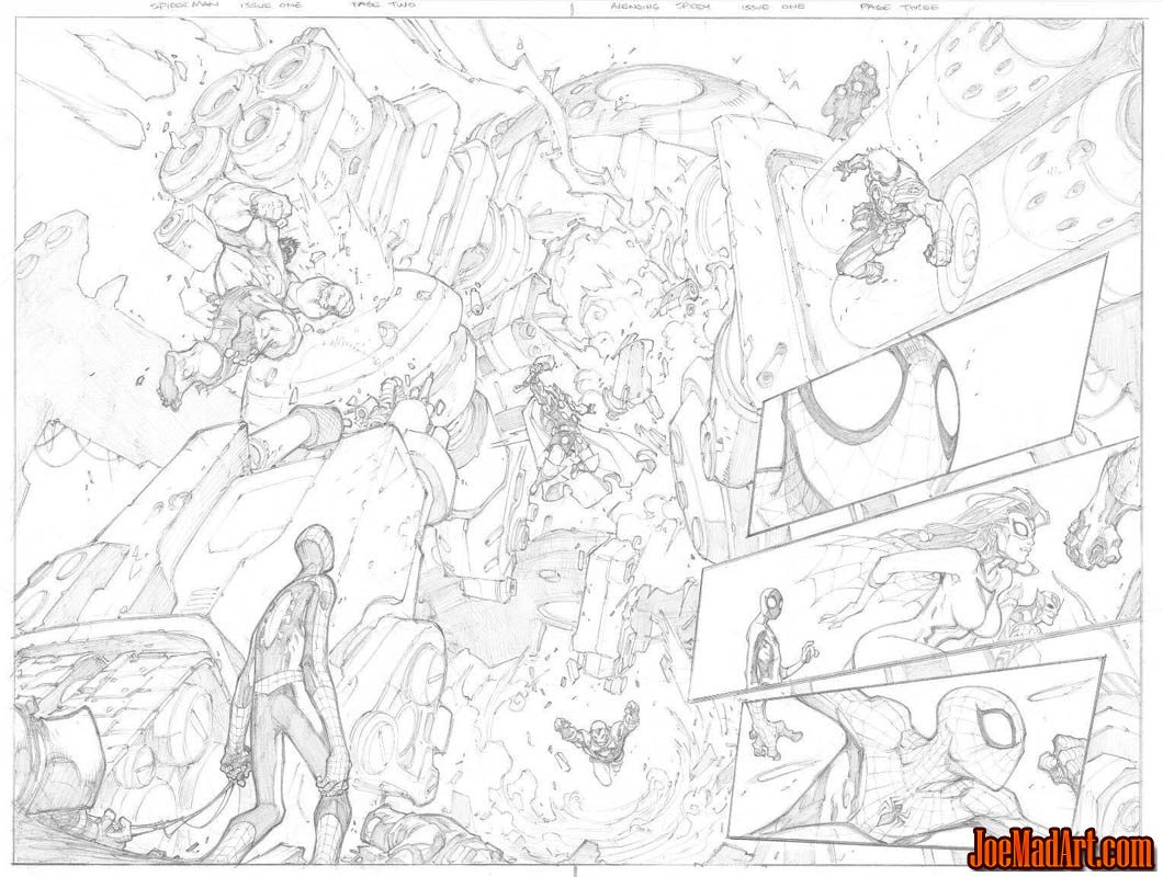 Avenging Spider-Man Volume 1 issue #1 double page 2 and 3  (Pencil)