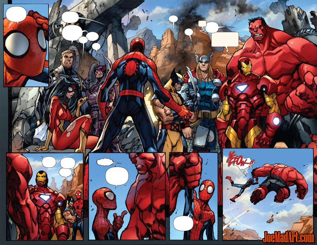 Avenging Spider-Man Volume 1 issue #1 double page 8 and 9 (Color)