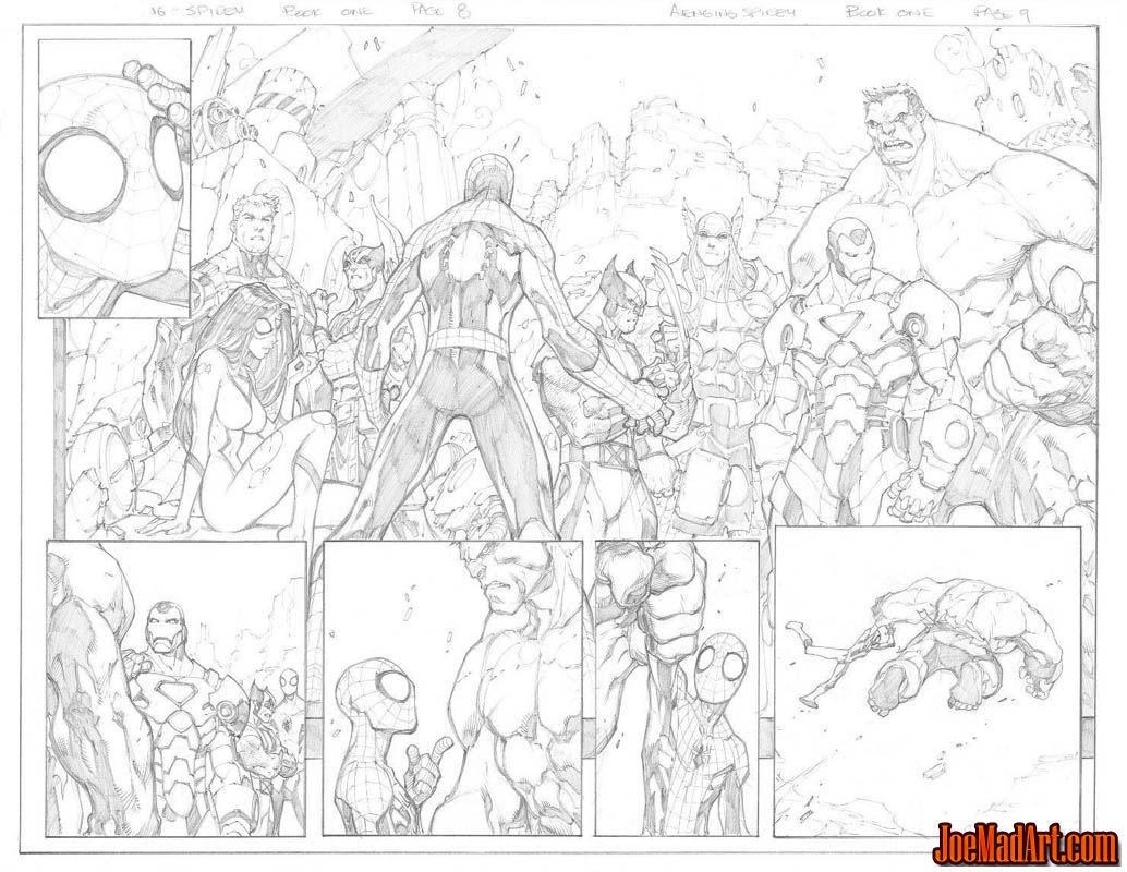 Avenging Spider-Man Volume 1 issue #1 double page 8 and 9 (Pencil)