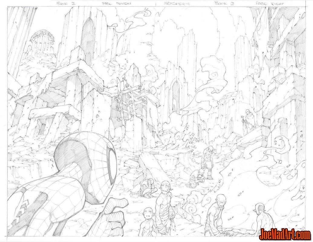 Avenging Spider-Man Volume 1 issue #2 double page 7 and 8 (Pencil)