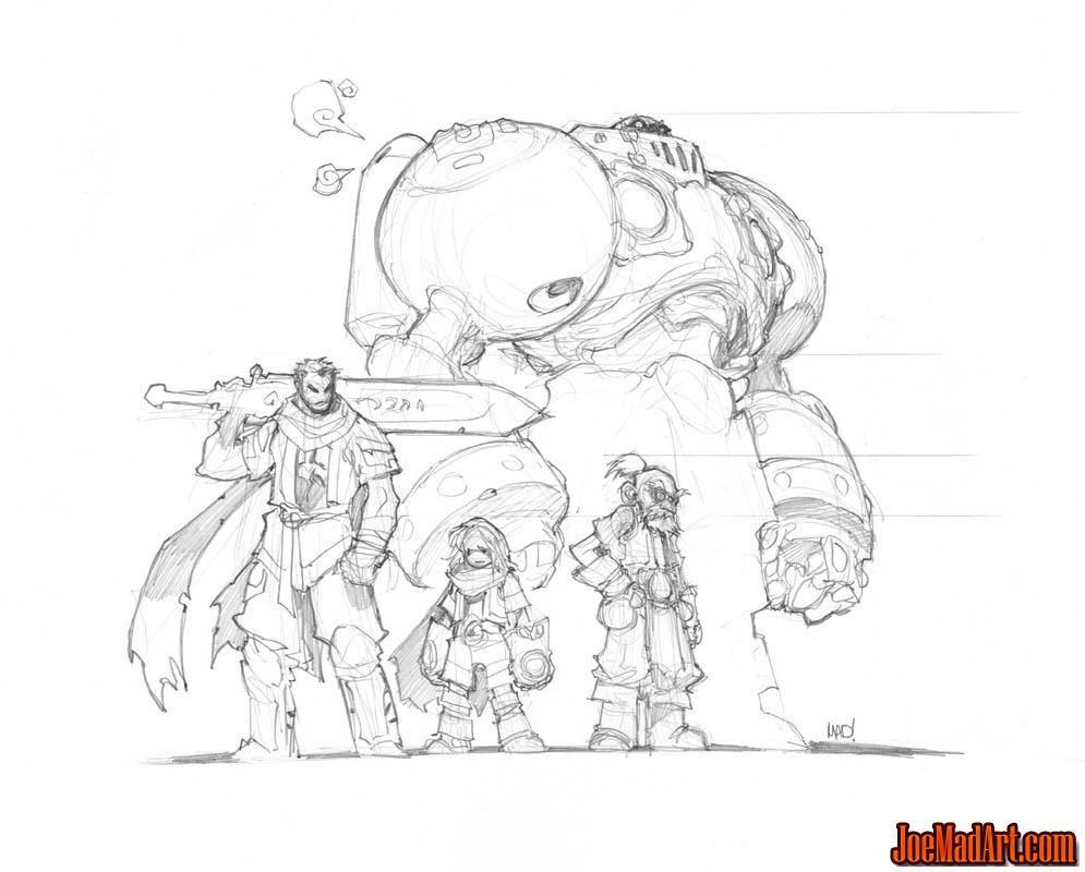 Battle Chasers Anthology team sketch (Pencil)