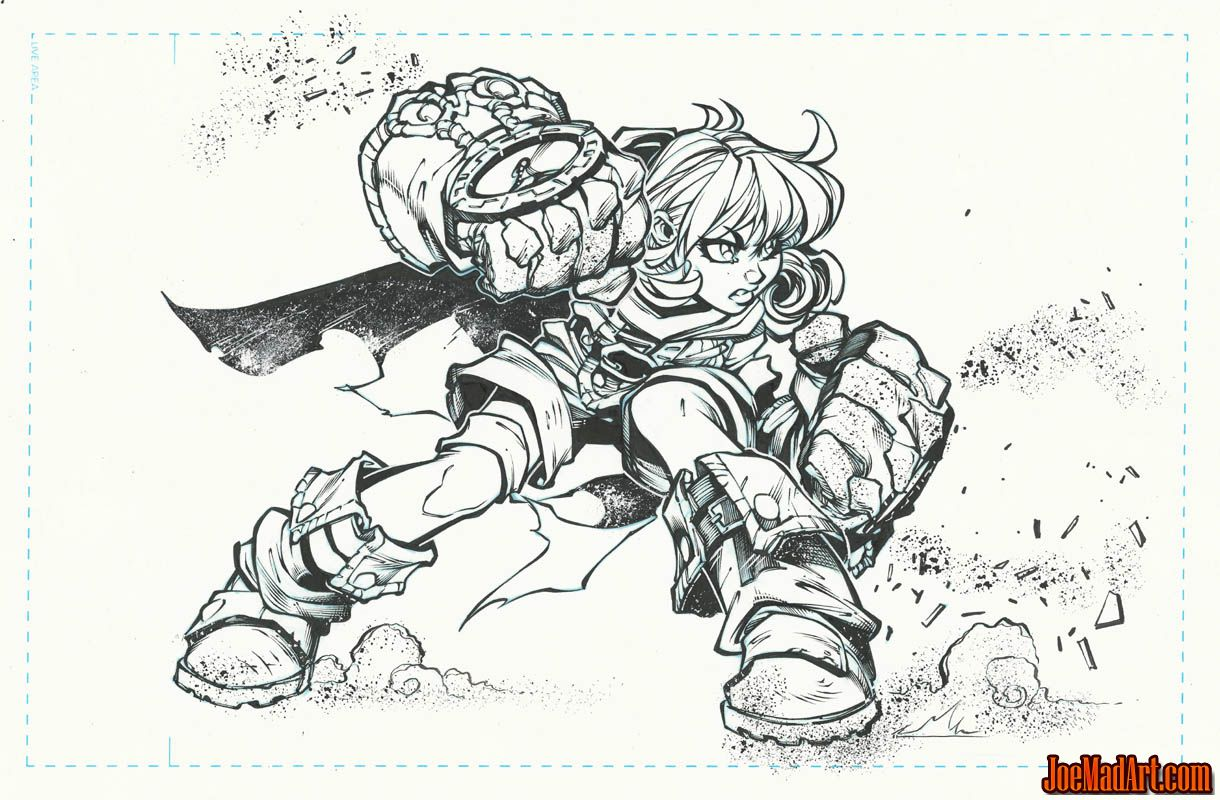 Gully concept art for Battle Chasers game (Ink)