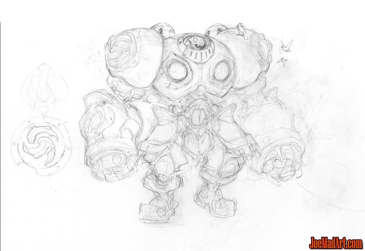 Battle Chasers NightWar Calibretto concept art (Sketch)
