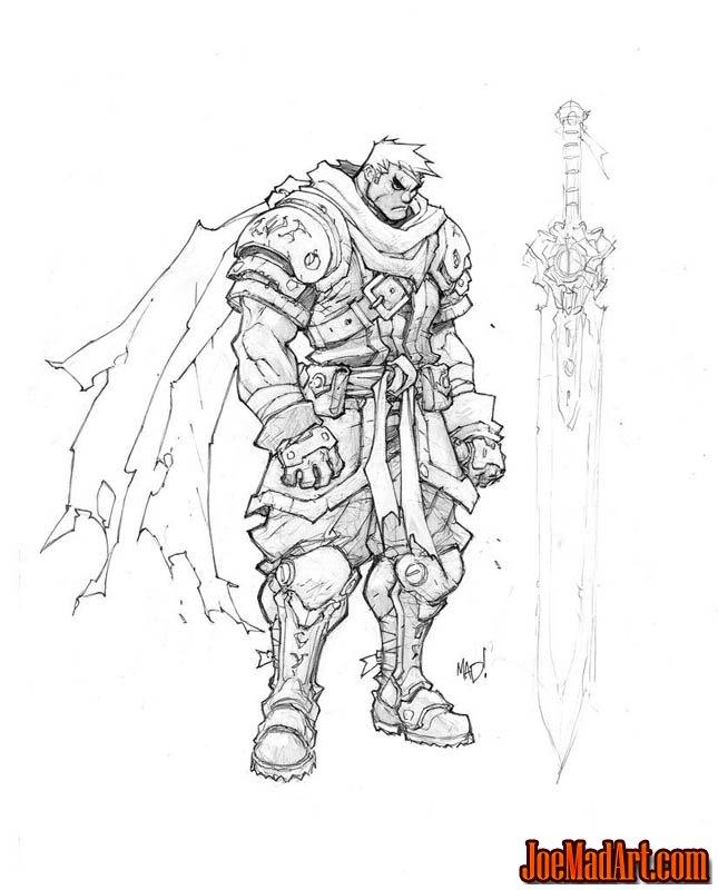 Battle Chasers Nightwar game Garrison 1st sketch (Pencil)