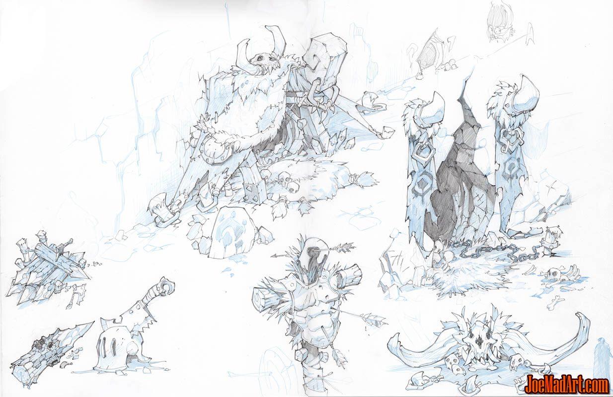 Battle Chasers Nightwar Lycelots cave entrances concept art (Pencil)