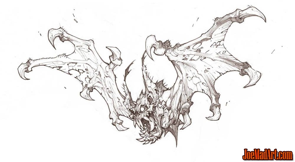 Battle Chasers Nightwar game creature concept art: the Bat (Pencil)