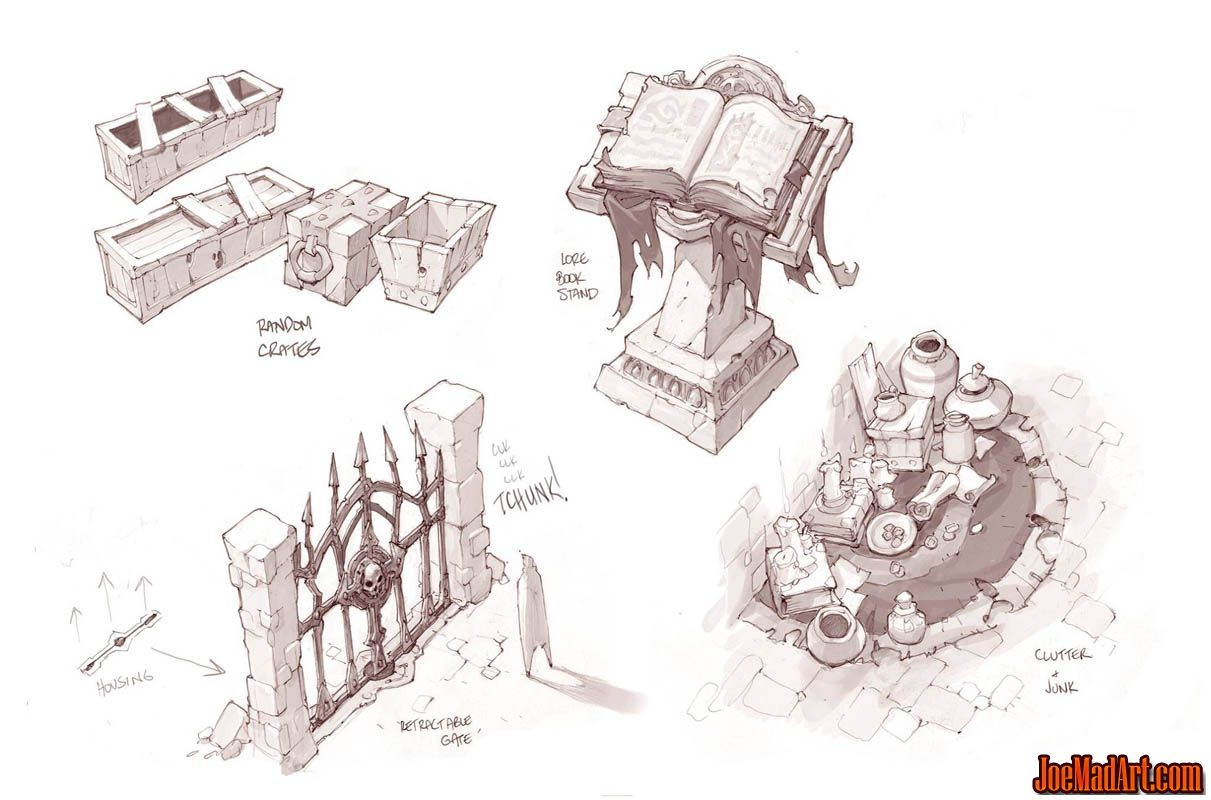 Battle Chasers Nightwar game props concept art (2) (Pencil)