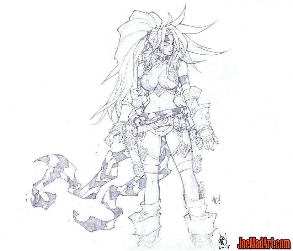 Battle Chasers Nightwar Red Monika game Portrait sketch (Pencil)