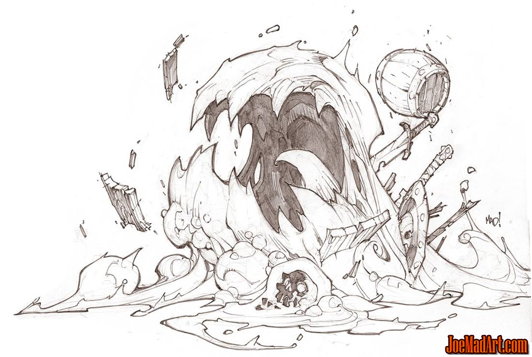 Battle Chasers Nightwar game creature concept art: the slime (Pencil)