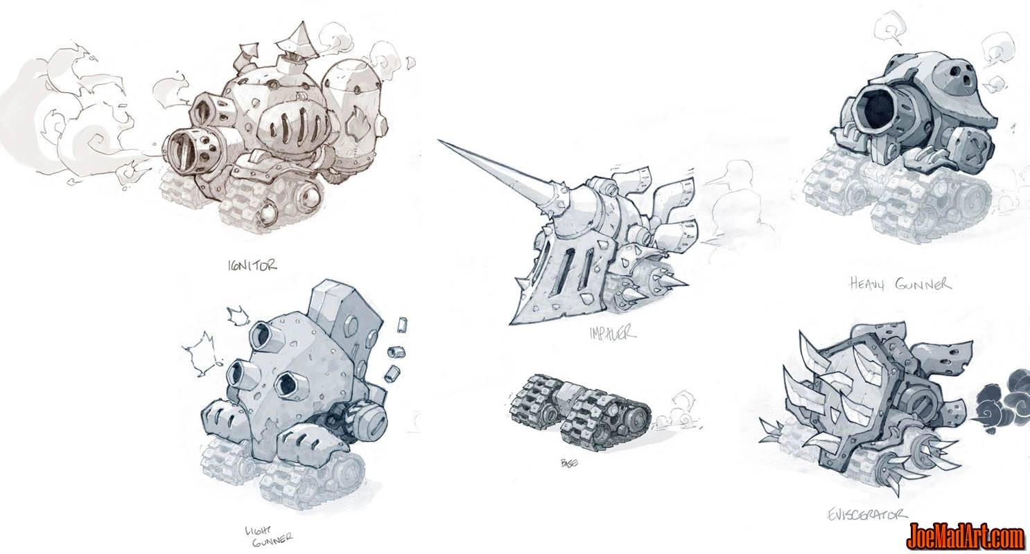 Battle Chasers Nightwar techbots concept art (Pencil)