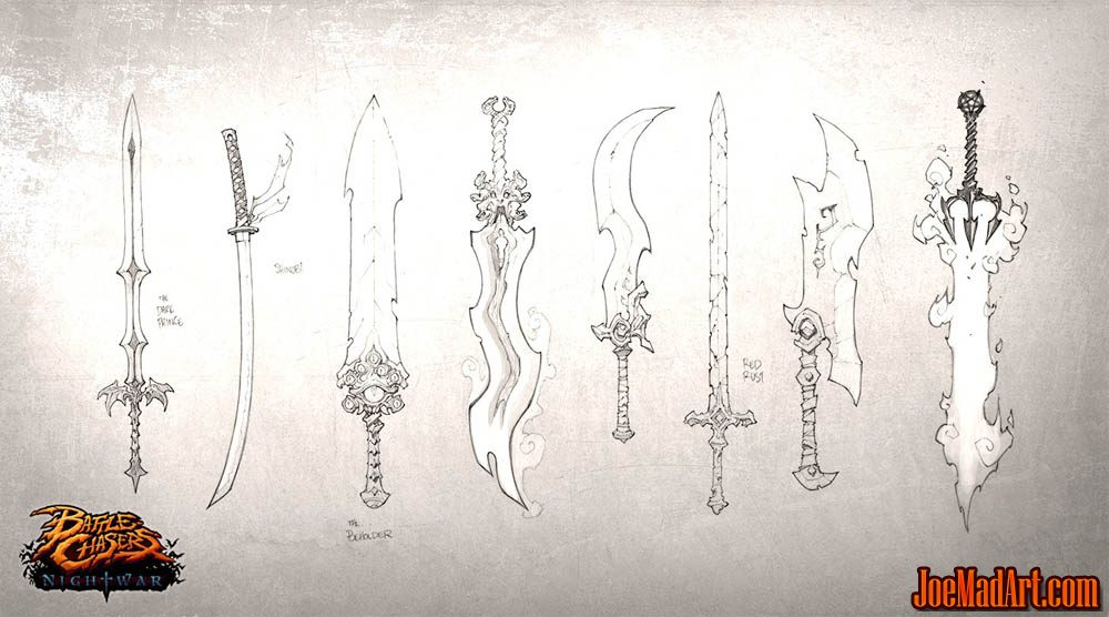 Battle Chasers Nightwar game first weapon concept art (Pencil)