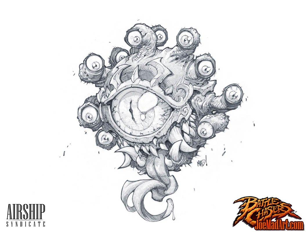 Battle Chasers Nightwar game creature concept art: The Beholder (Pencil)