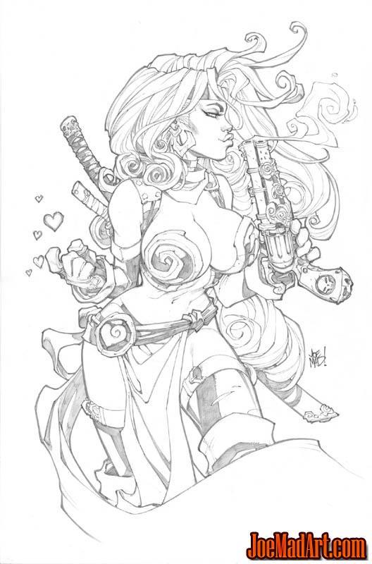 SDCC 2012 Red Monika print #1 with gun (Pencil)
