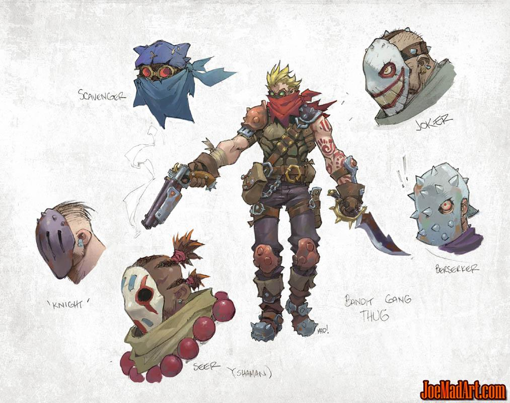 Battle Chasers Nightwar bandit gang thugs concept art (Color)