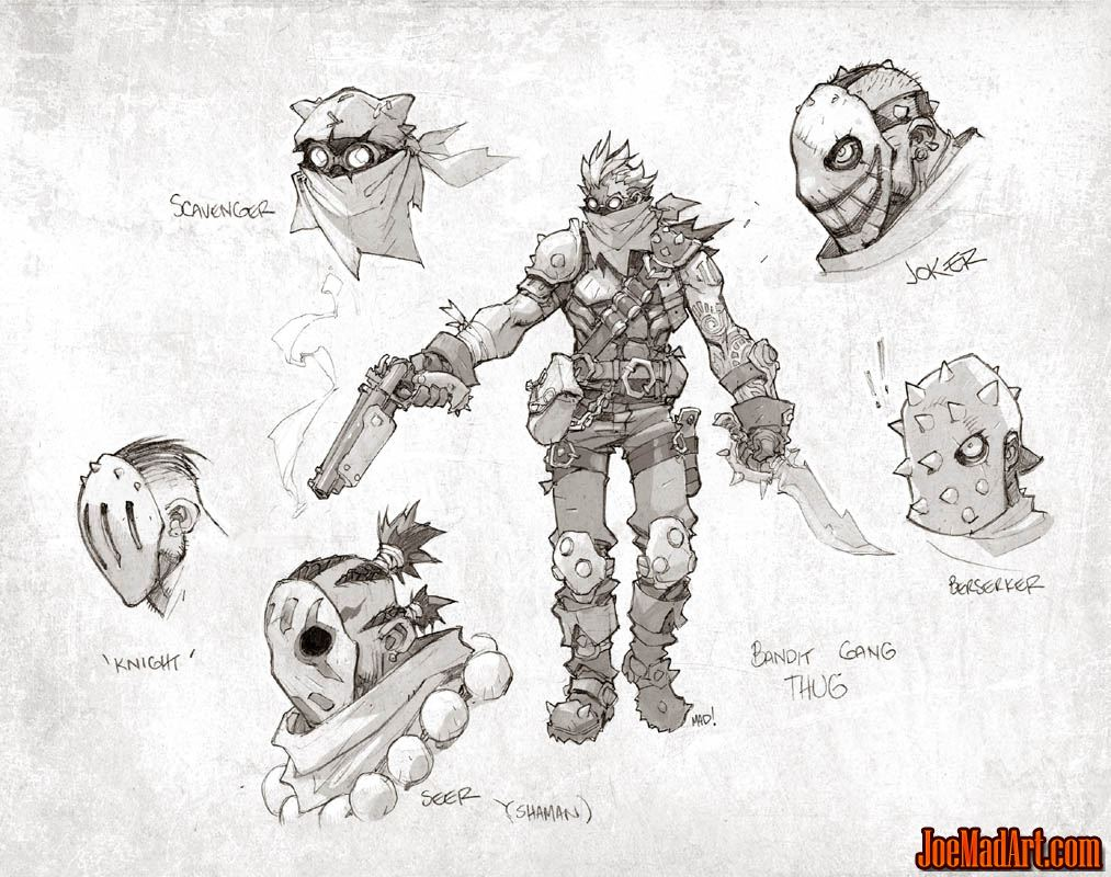 Battle Chasers Nightwar bandit gang thugs concept art (Pencil)
