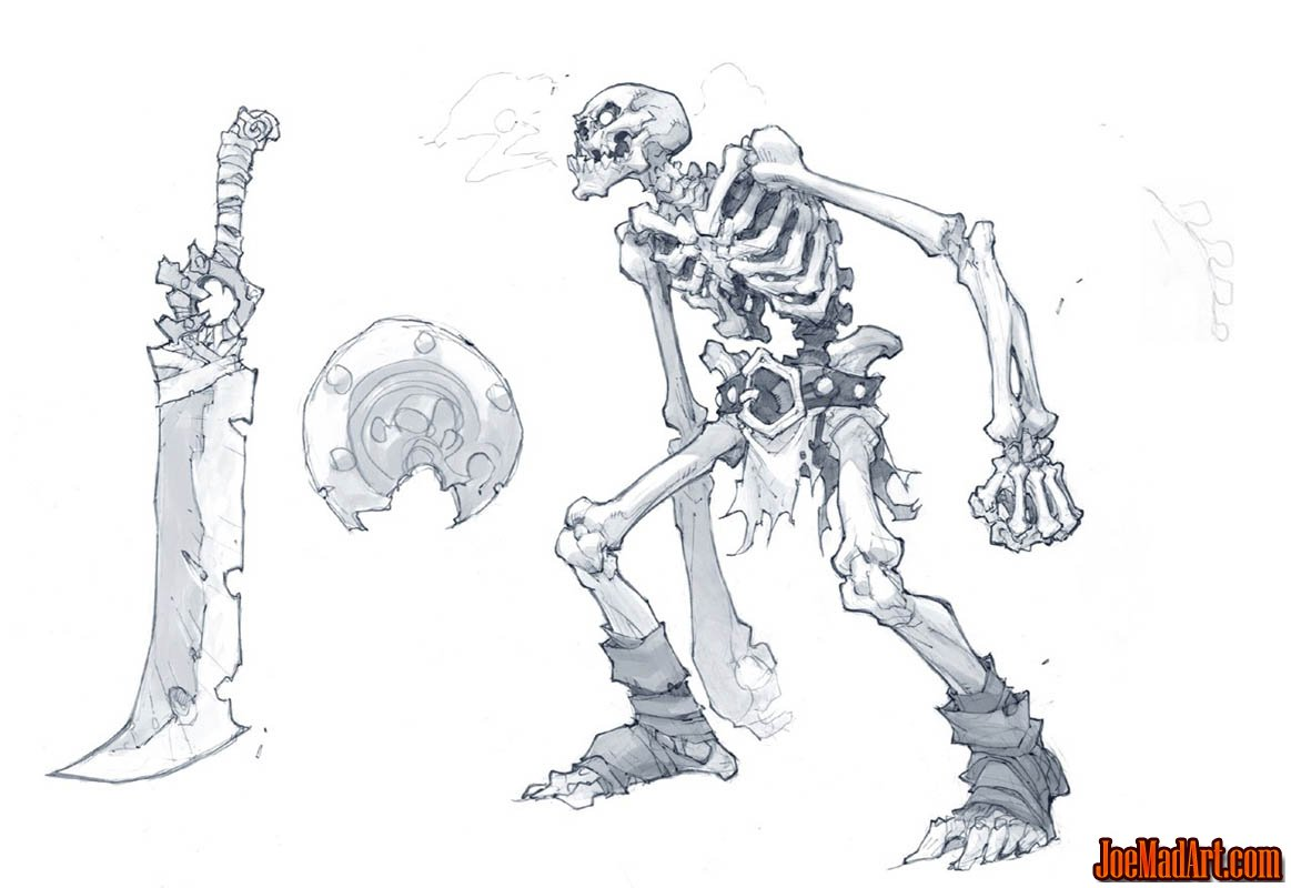 Skeleton Warrior concept art for Battle Chasers Nightwar game (Pencil)