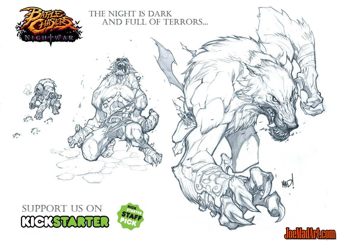 Battle Chasers Nightwar game creature concept art: Werewolf (Pencil)