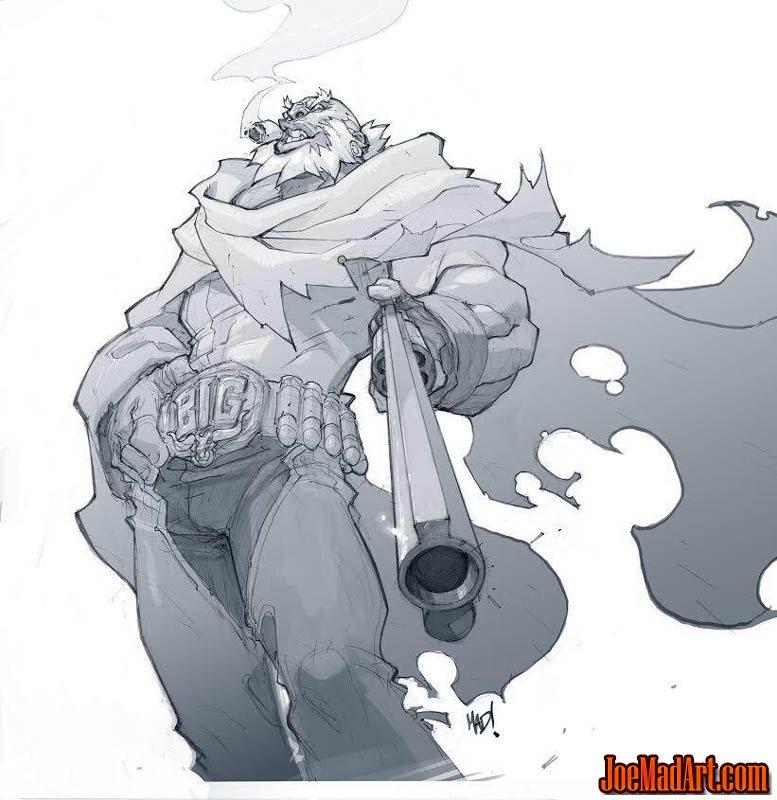 Cannon Busters Big Bull concept art (Pencil)