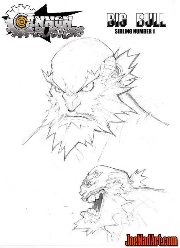 Cannon Busters Big Bull portrait concept art (Pencil)
