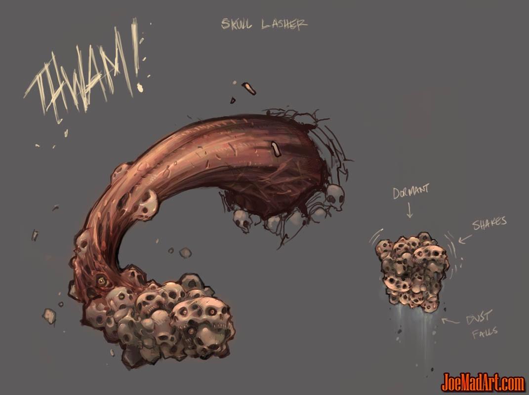 Darksiders Wallclimb Lasher monster concept art (Color)