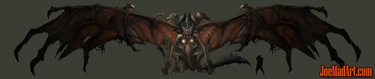 Darksiders Tiamat (Bat) Boss concept art (Color)