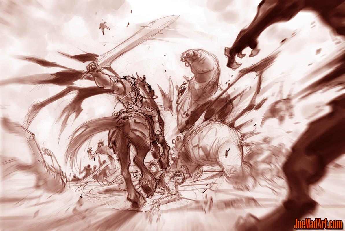 Darksiders fighting scene War and Ruin on the battlefield study (Pencil)