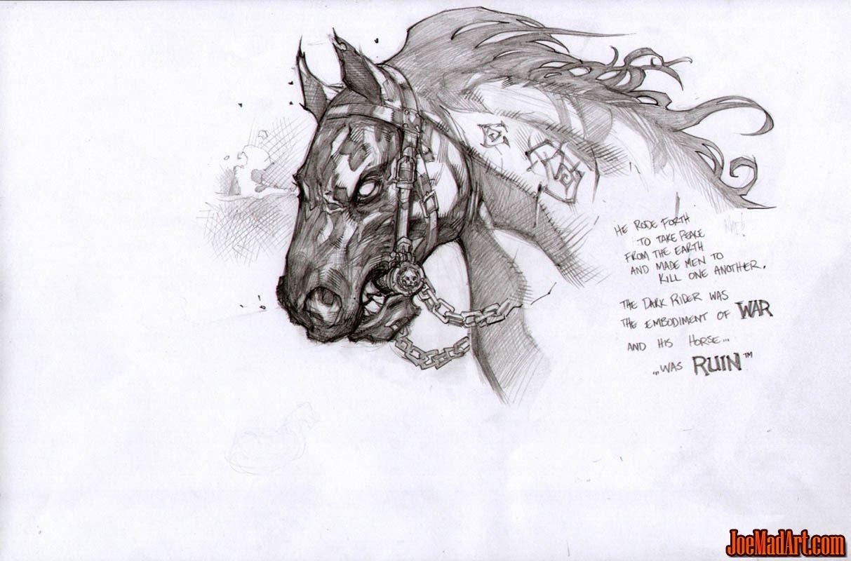 Joemadart Com Darksiders War S Horse Ruin Face Concept Art