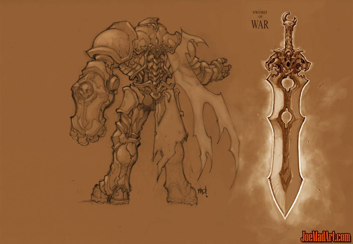 Darksiders War and his sword old version concept art (Pencil)