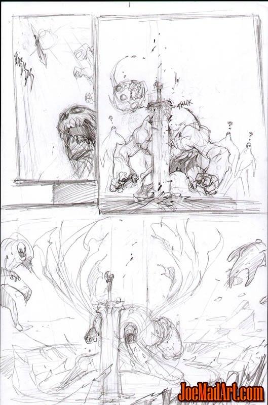 Darksiders War entrance action scene concept art (Pencil)