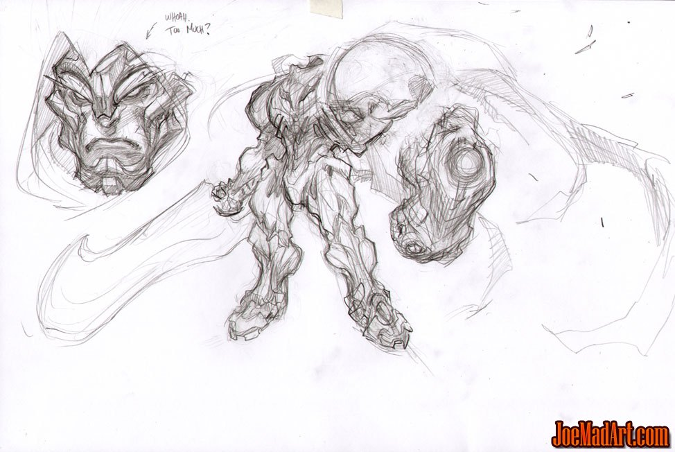 Darksiders War face & body early  concept art (Pencil)