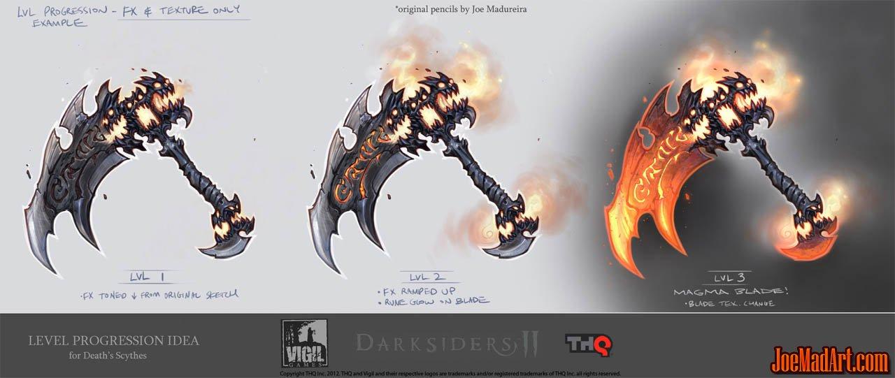 Darksiders 2 Scythe progression idea concept art (Color)