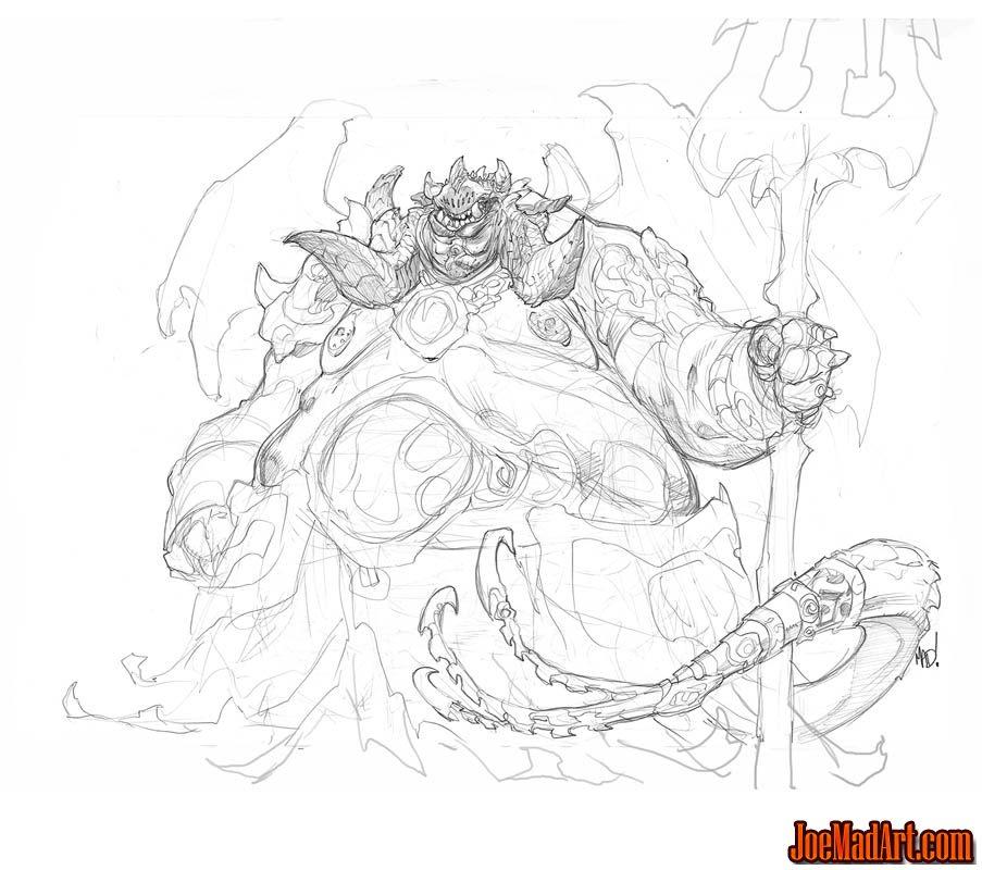 Darksiders 2 Belial (Boss) concept art (Pencil)