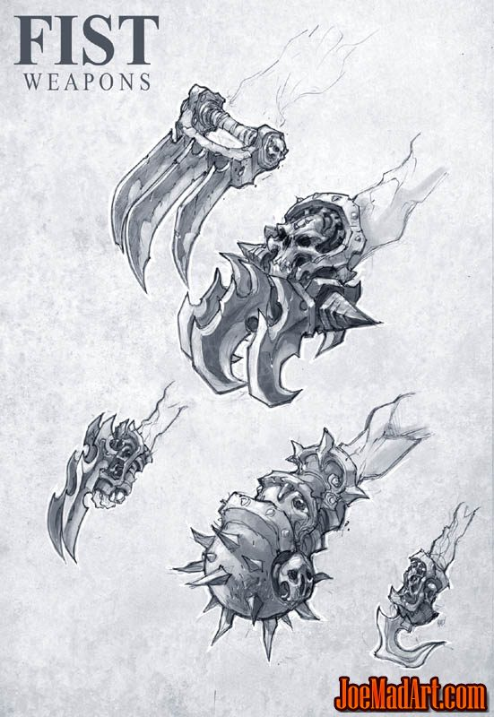 Darksiders II Claws / fist weapons concept art (Pencil)