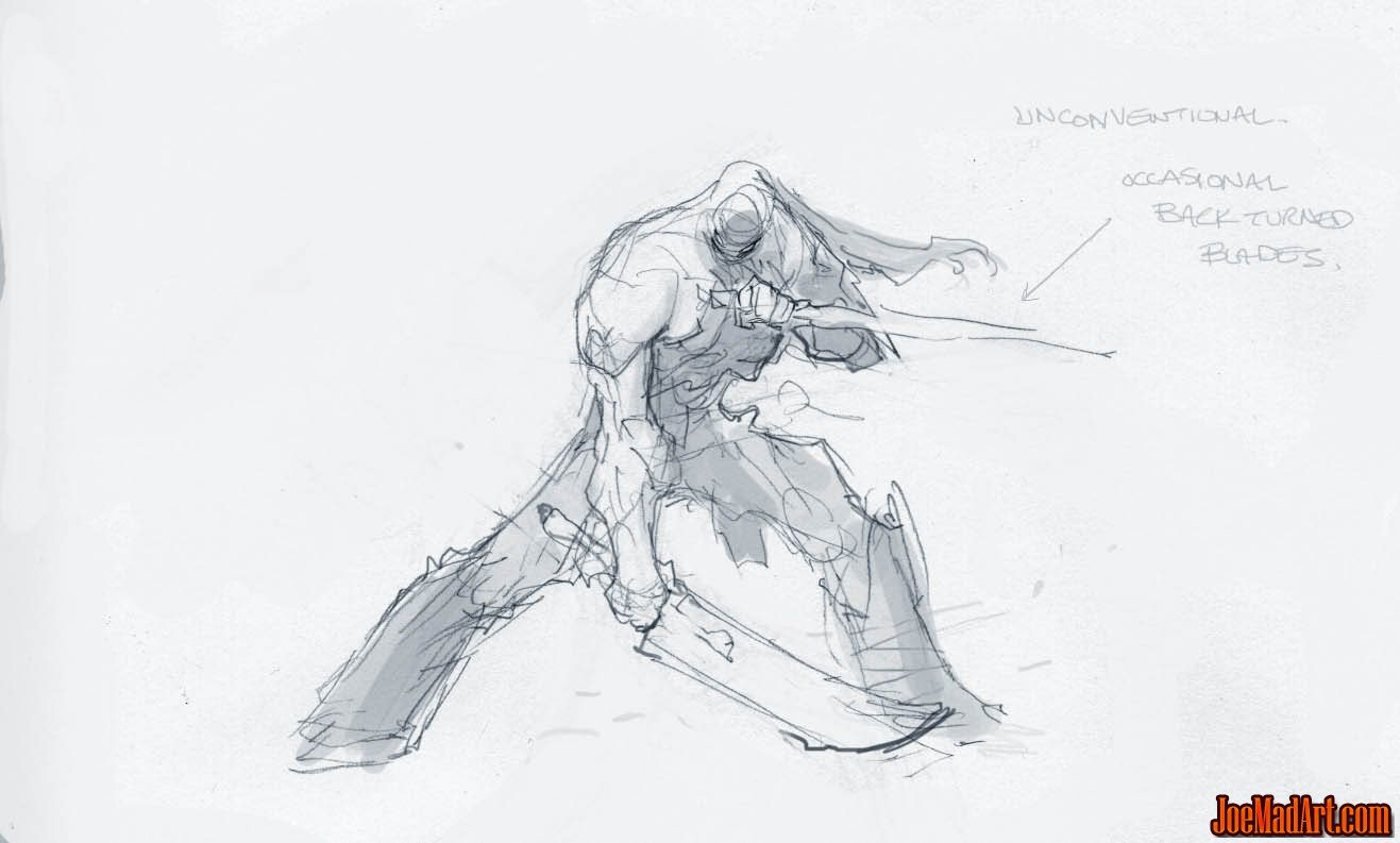 Darksiders II Death double swords idle stance concept art (Sketch)