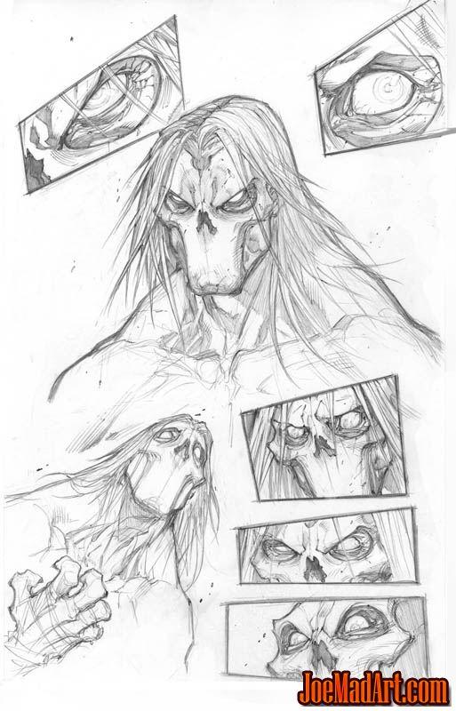 Darksiders 2 Death face concept arts (Pencil)