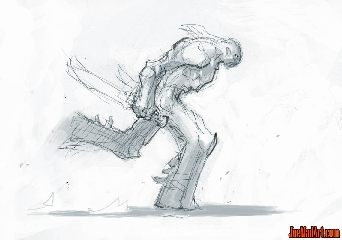 Darksiders II Death runs with 2 weapons concept art (Sketch)