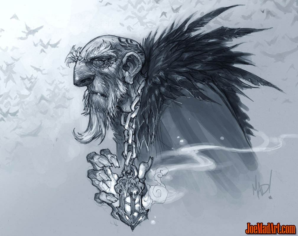 DarksidersII the Crow Father with amulet  concept art (Pencil)