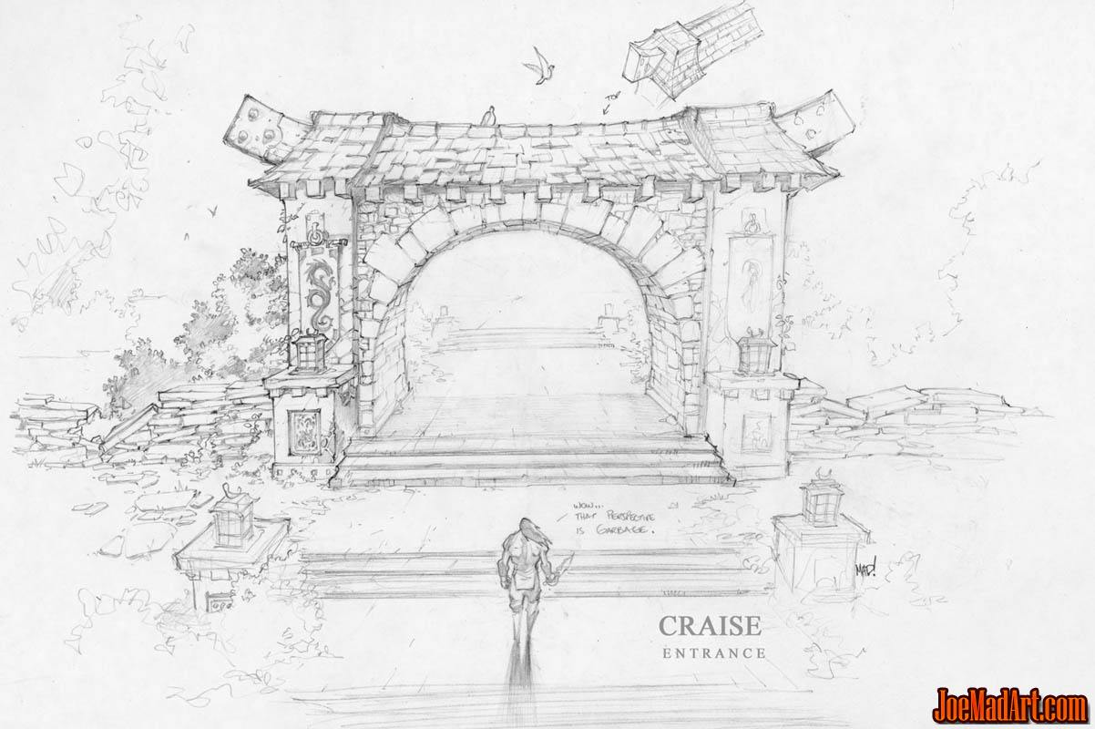 Dungeon Runners environment town Craise entrance concept art (Pencil)