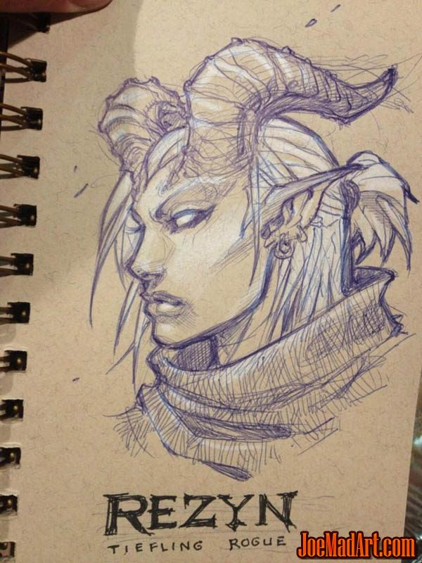 Dungeons and Dragons Rezyn portrait sketch (Sketch)