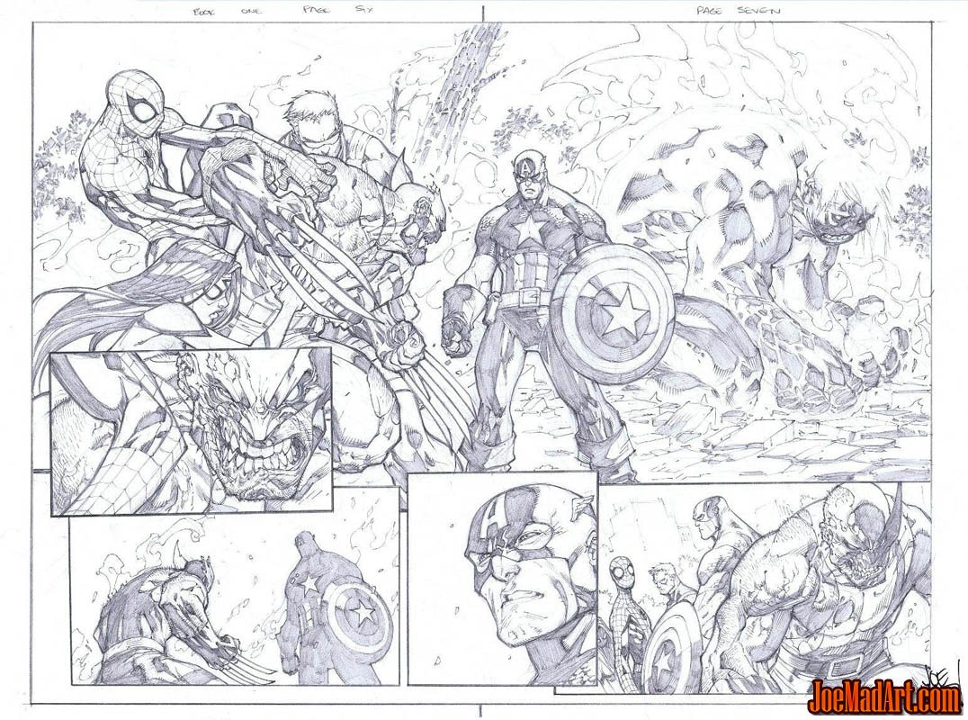 Savage Wolverine issue #6 double page 6 and page 7 (Pencil)