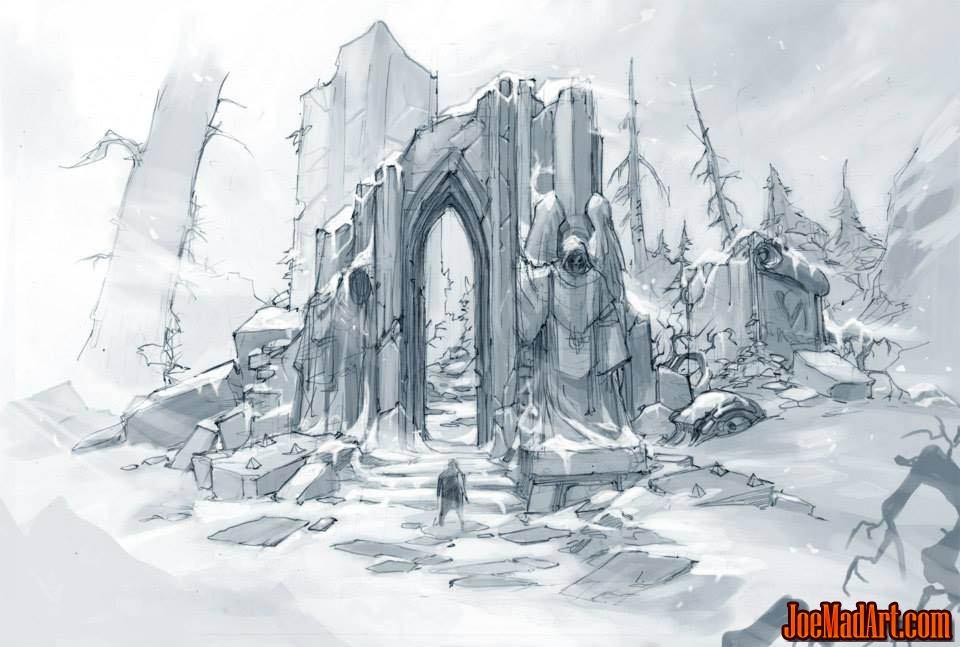Dark Angels temple ruins concept art (Pencil)