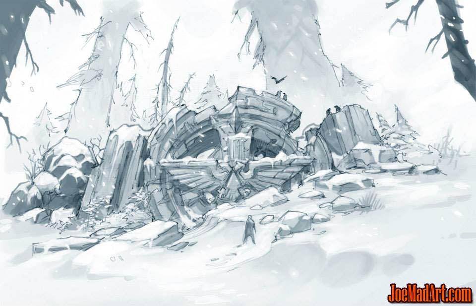 Imperial Aquila temple ruins concept art (Pencil)