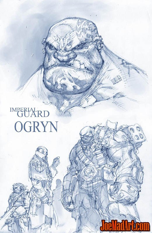 Imperial Guard Ogryn concept art (Unused) (Pencil)