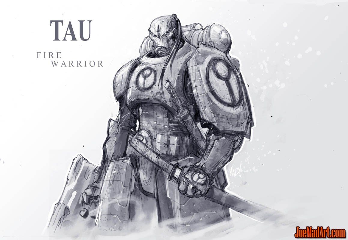 Tau fire warrior concept art (Unused) (Pencil)