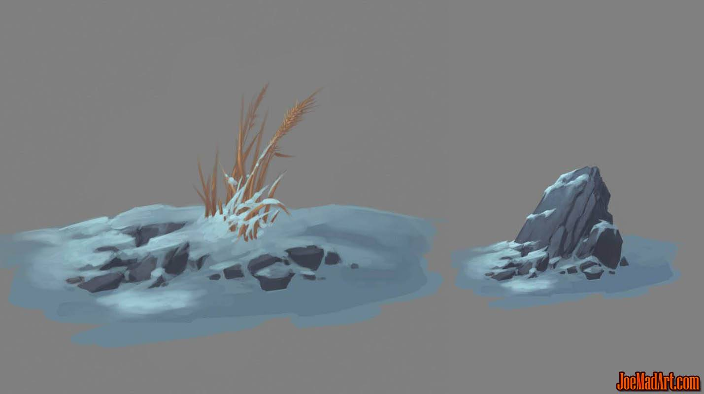 Exploration stuff: grass & rocks (Unused) (Color)