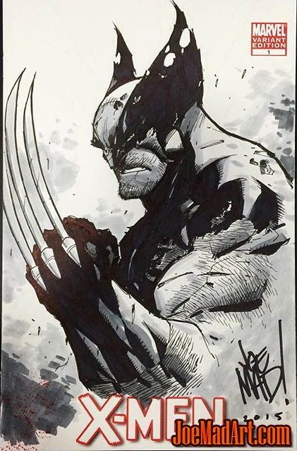 X-Men #1 Wolverine sketch on blank comic cover (Pencil)