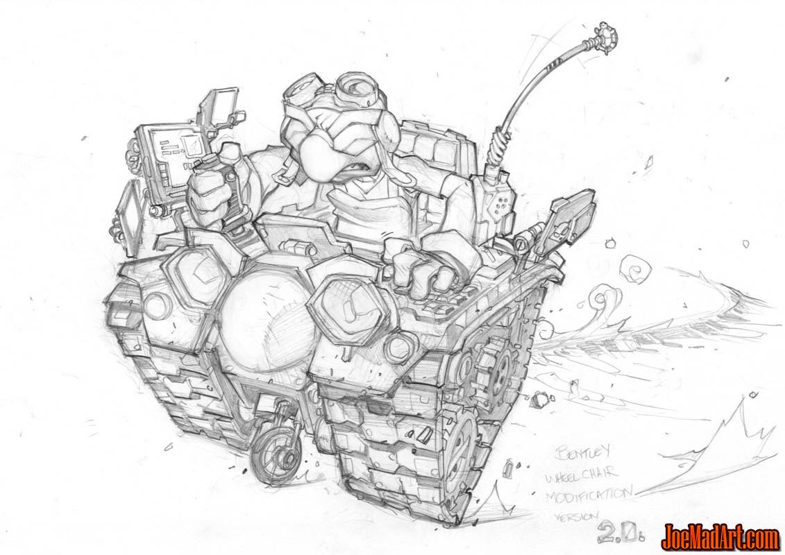 Bentley in wheelchair modification V2 concept art (Pencil)