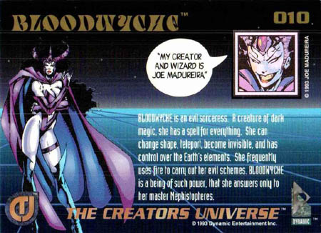 The creators universe card #10 Bloodwyche back