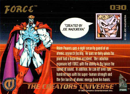 The creators universe card #30 Force back (Color)